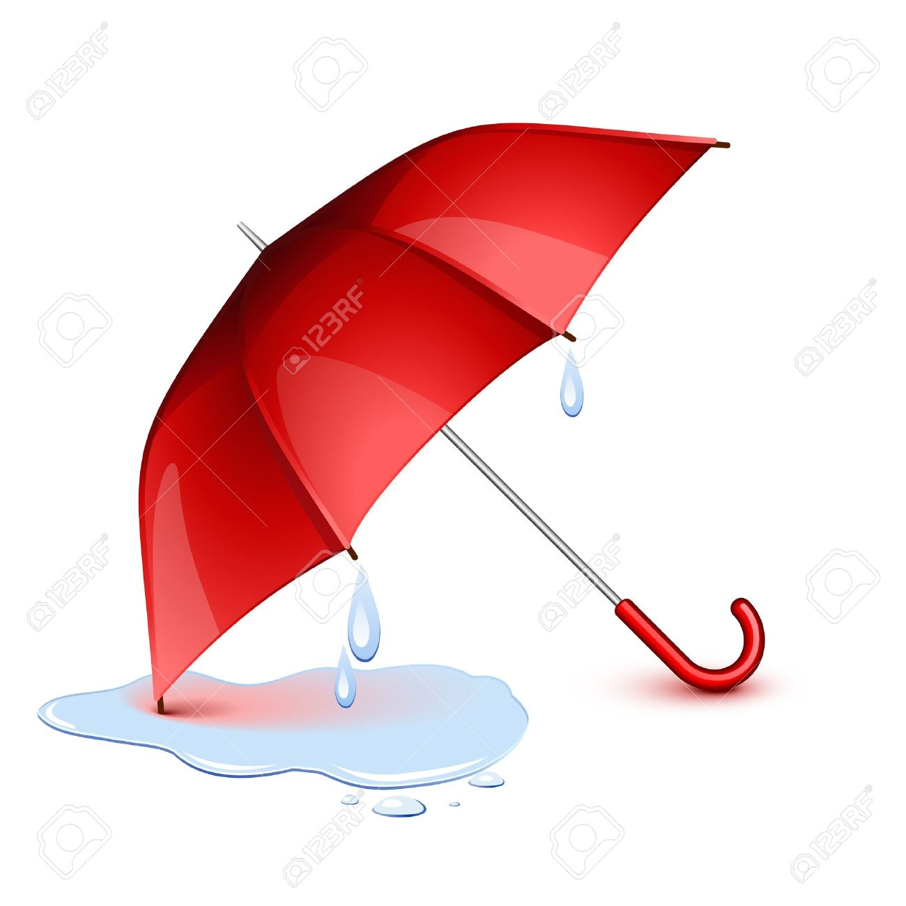 Wet Red Umbrella After The Rain Royalty Free Cliparts, Vectors.