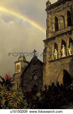 Stock Photograph of Dominica, Caribbean, Roseau, rainbow.