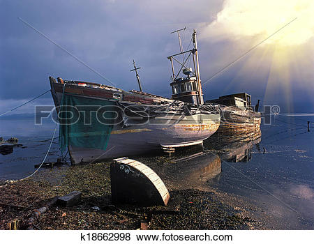 Pictures of Fishing boats after storm k18662998.
