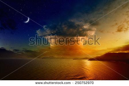 Crescent Moon Stars Over Island Pacific Stock Photo 81090931.