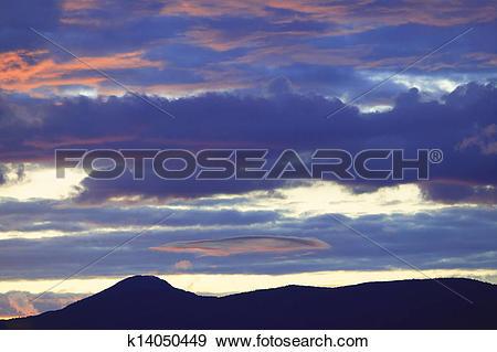 Stock Photograph of Glow after sunset, Stowe, Vt, USA k14050449.