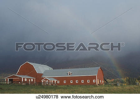 Pictures of rainbow, barn, Waterbury, VT, Vermont, A colorful.