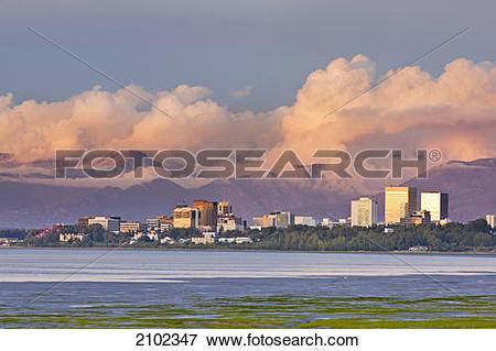 Picture of Sunset Light Illuminates The Downtown Anchorage Skyline.