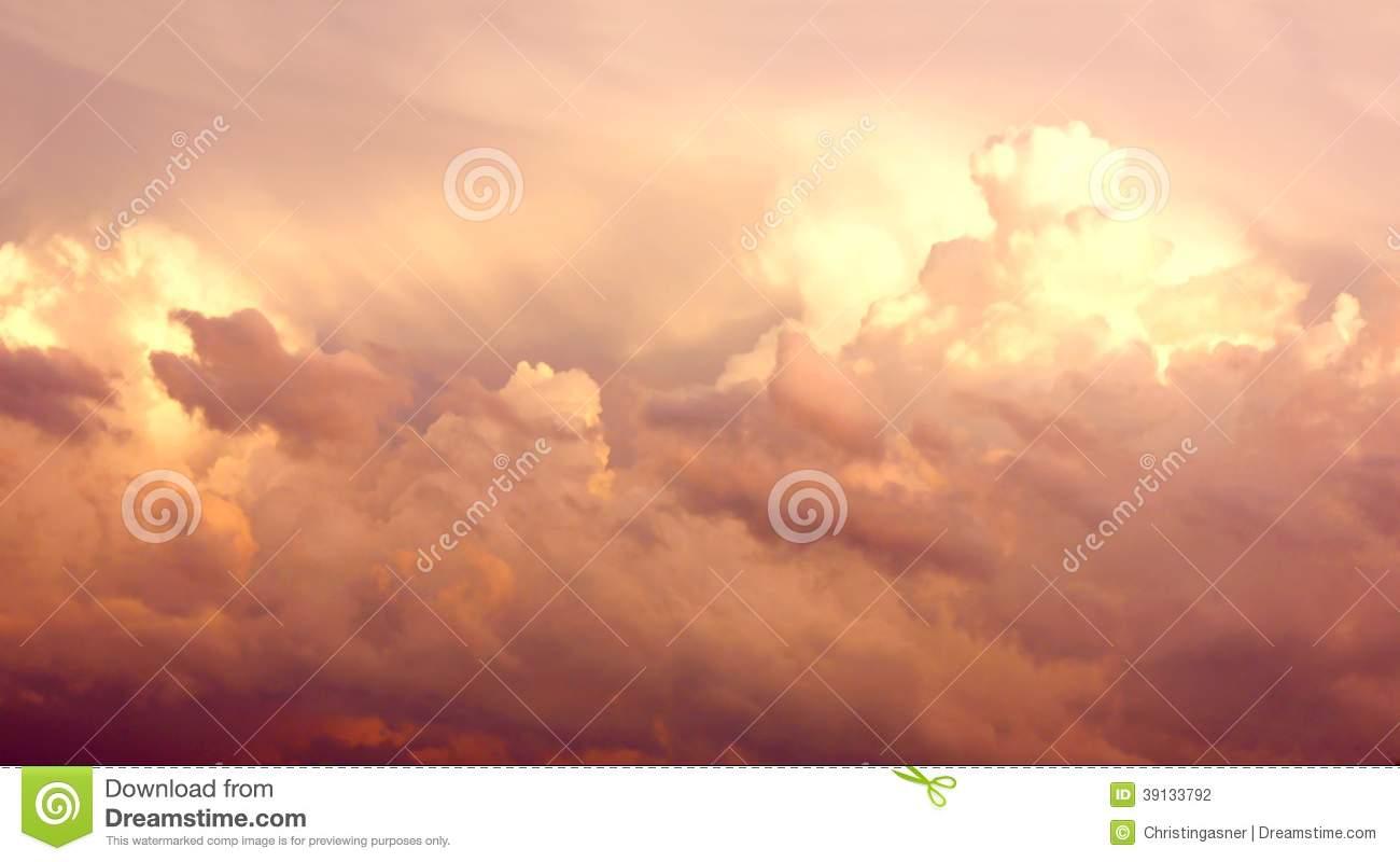 Purple Cumulonimbus Clouds In Sky After Storm Stock Photo.