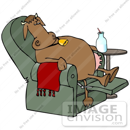 Clip Art Graphic of a Tired Brown Cow With Udders, Relaxing After.