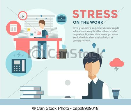 Vector Clip Art of New Job after Stress Work infographic. Students.