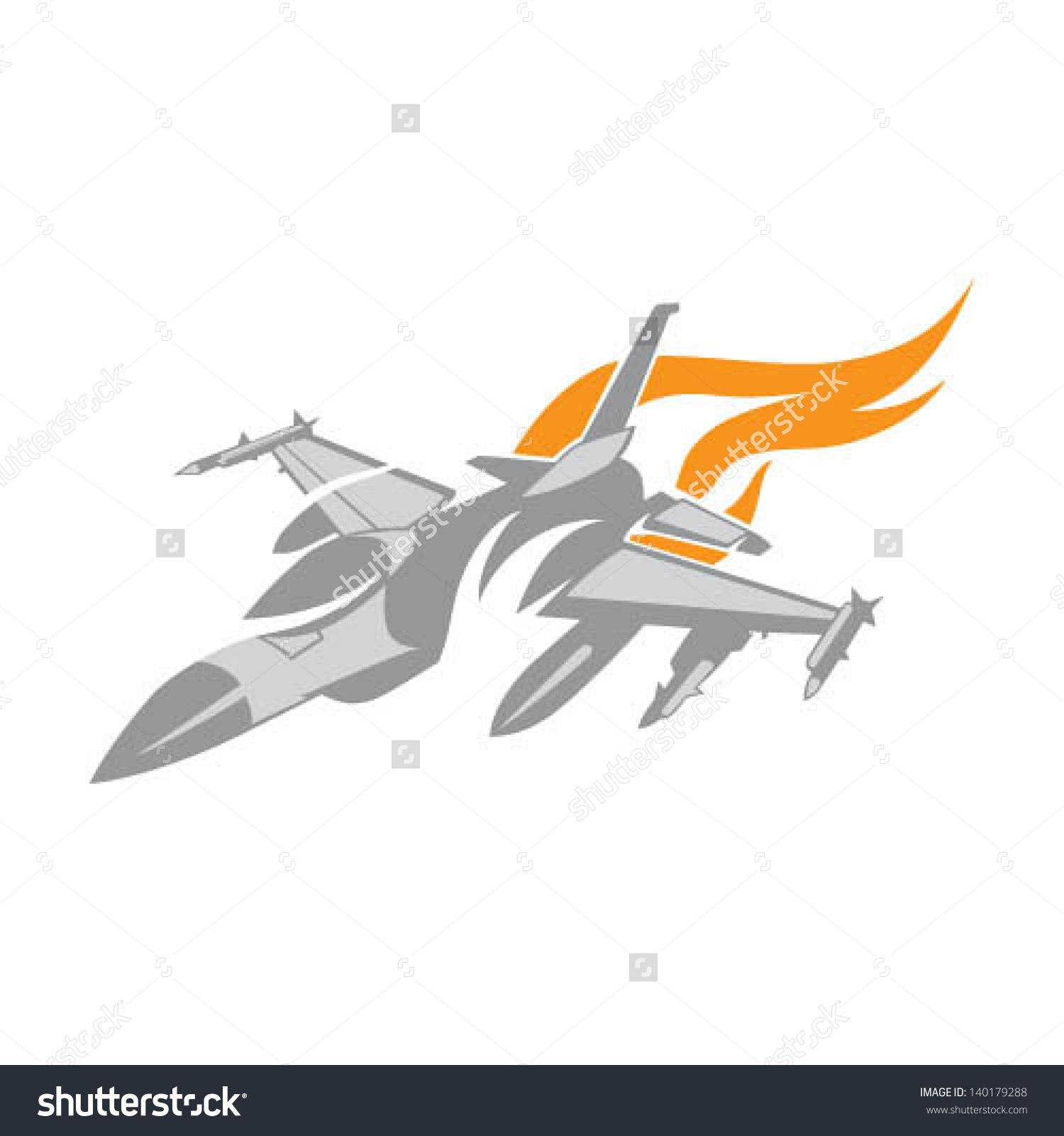 Fighter Jet Stylized Stock Vector 140179288.