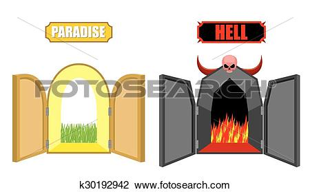 Clipart of Gates of hell and paradise. Entrance to Satan and God.