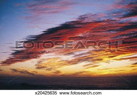 Stock Image of Meteorology, Background, Dusk, Cloud, Cirrostratus.
