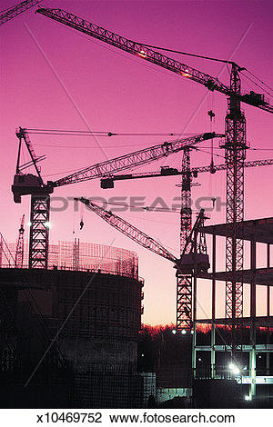 Stock Photo of Industrial, Building Site, Illuminated, Crane.