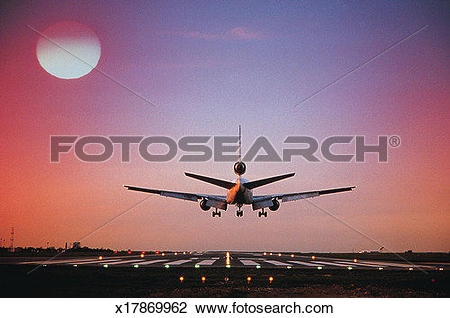 Stock Photo of Dusk, Afterglow, Aviation, Airplane, Aircraft.