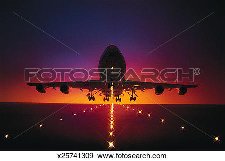 Stock Photograph of Aviation, Afterglow, Airport, Airplane.