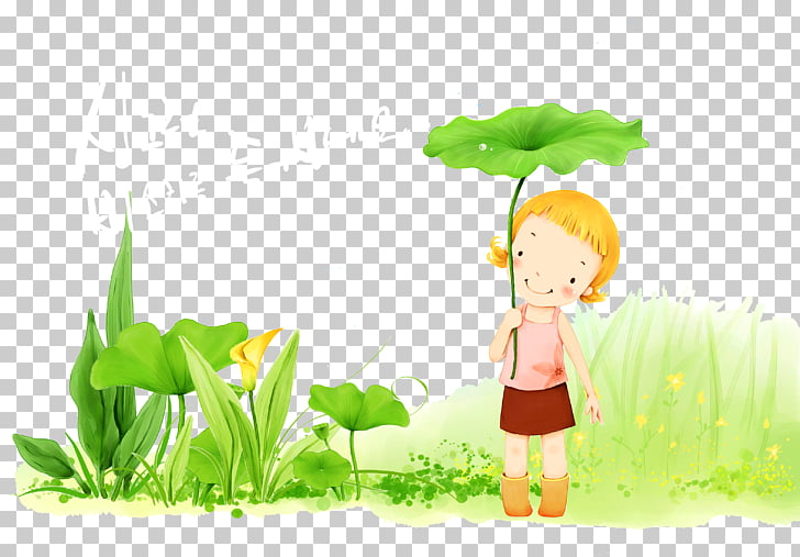 Afternoon Cartoon , Small fresh girl PNG clipart.