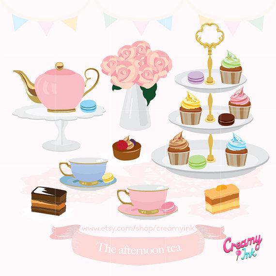 Afternoon Tea Party Digital Clip Art / English High Tea.