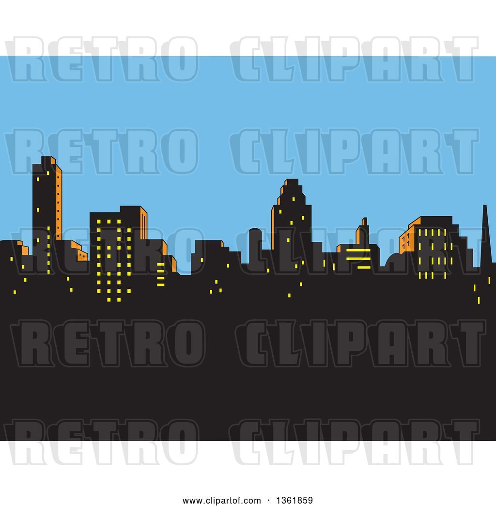Vector Clip Art of Retro Silhouetted City Skyline Against an.