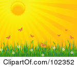 Clipart of a Background of Bright Sun Rays in Orange.