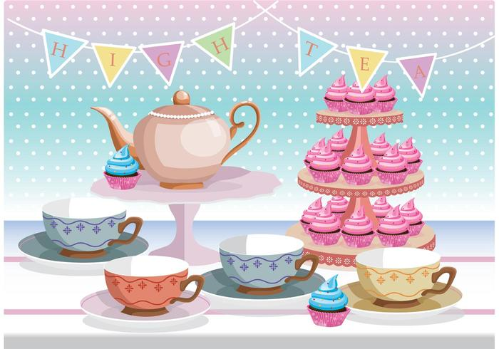 High Tea Vector Background.