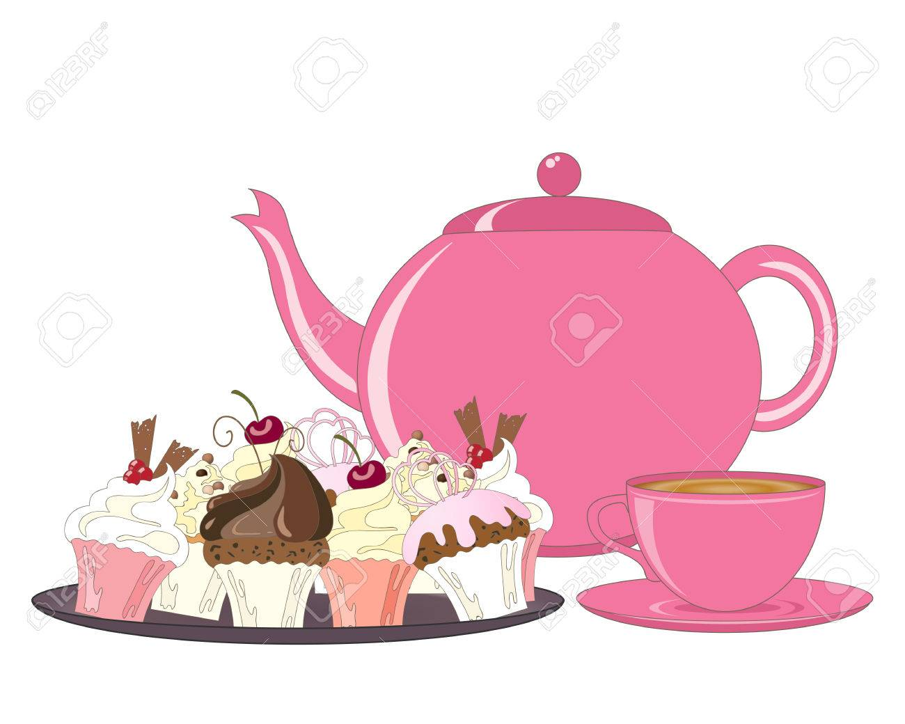 an illustration of a selection of decorated cakes teapot and...
