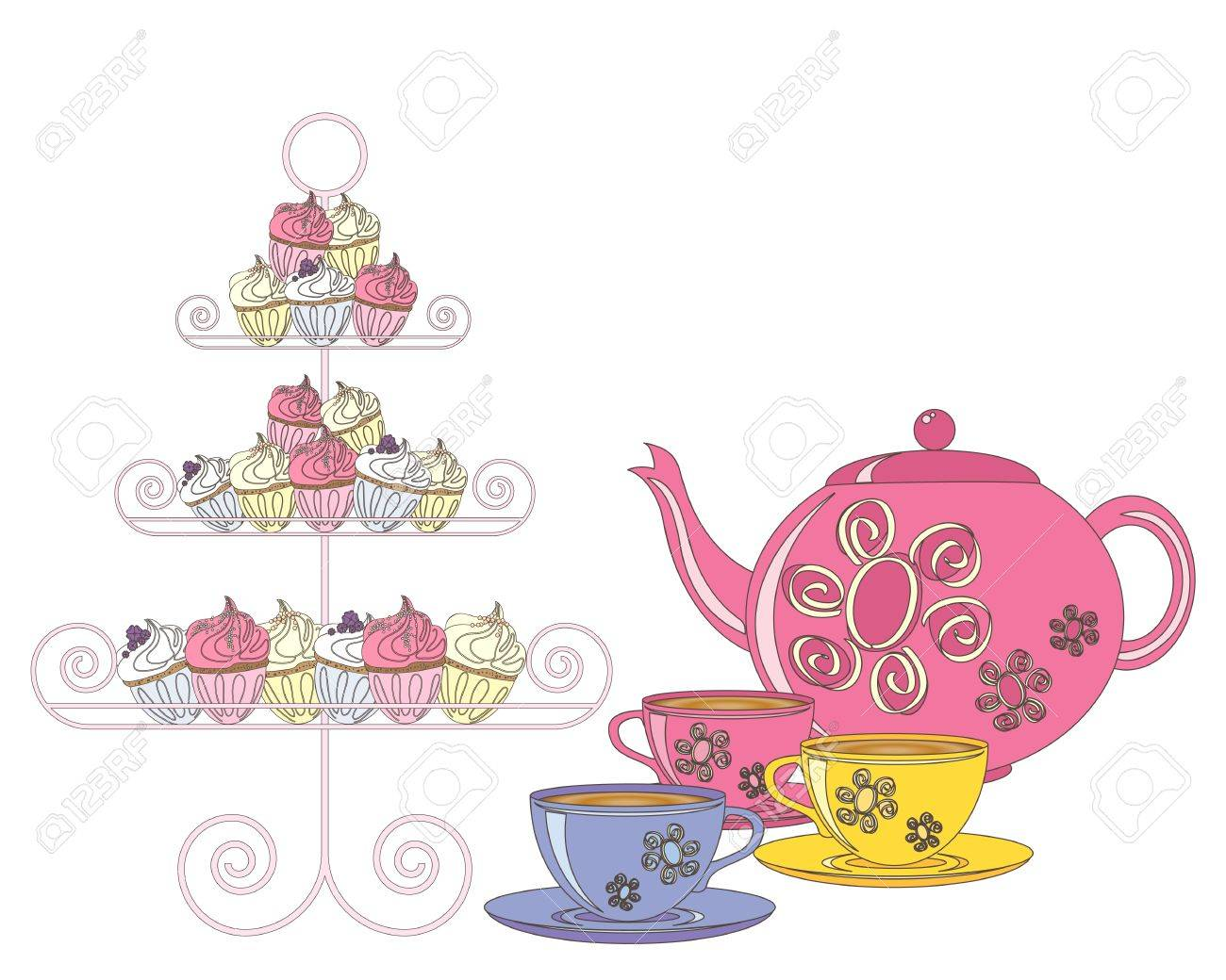 an illustration of a selection of fancy cakes teapot and tea...
