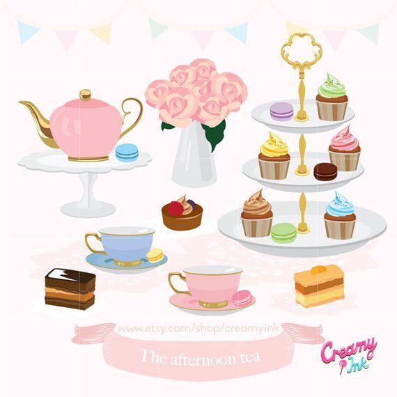 Afternoon Tea Party Digital Clip Art / English High Tea Digital.