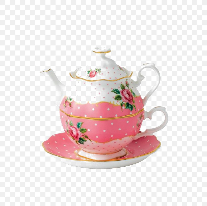 Tea Set Bone China Teapot Pink, PNG, 564x816px, Watercolor.