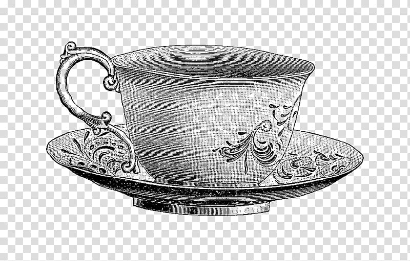 Gray floral teacup with saucer illustration, Teacup Saucer.