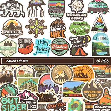 Nature Adventure Stickers for Water Bottle,50 Pcs Laptop Stickers Vinyl  Waterproof Camping Hiking Travel Decal Stickers for Phone,Computer,Hydro.