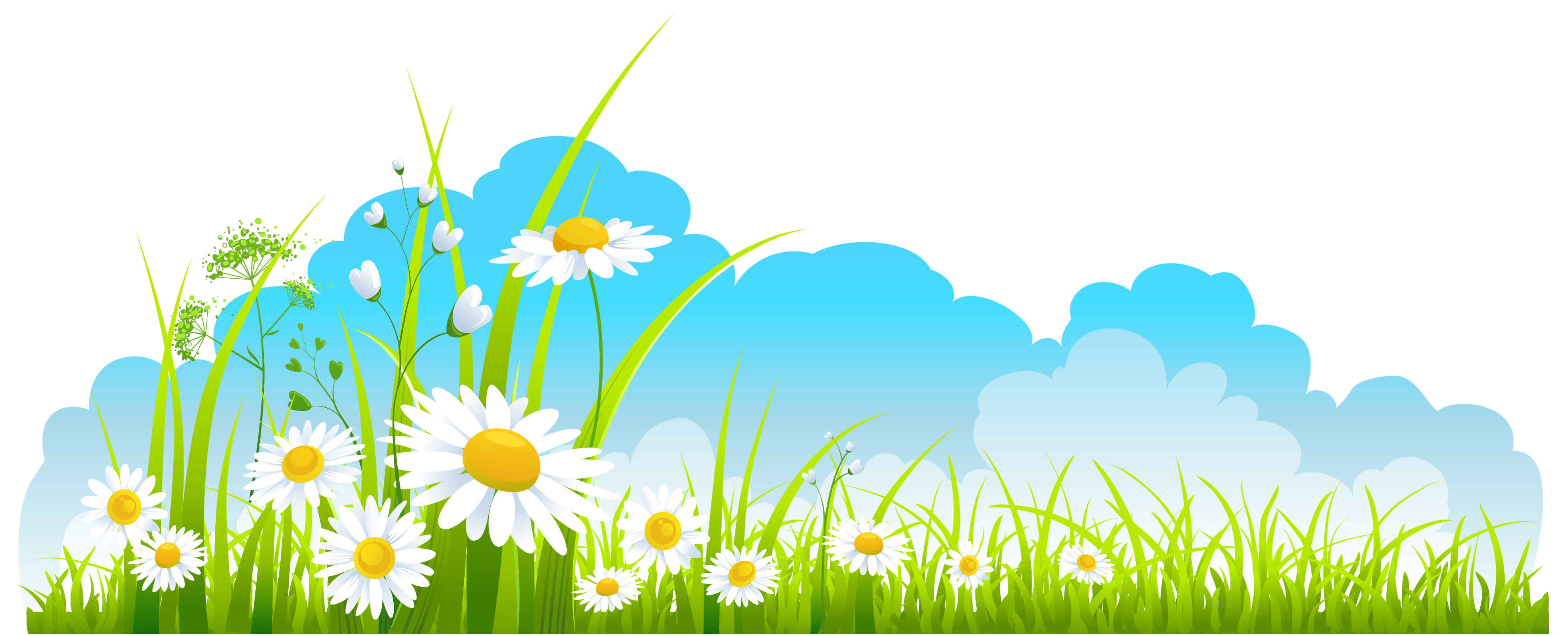 Flowers Sky Background Clipart.