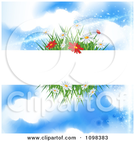 Clipart Butterflies Over Spring Daisies And Grass With A.