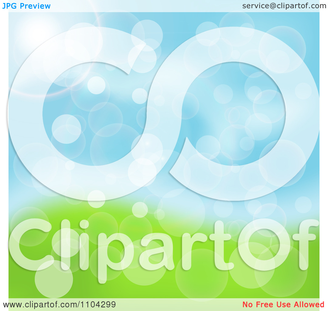 Clipart Blurred Spring Sky And Grass Background With Flares Of.