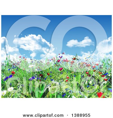 Clipart of a 3d Grassy Spring Hill with Wild Flowers Under a Blue.