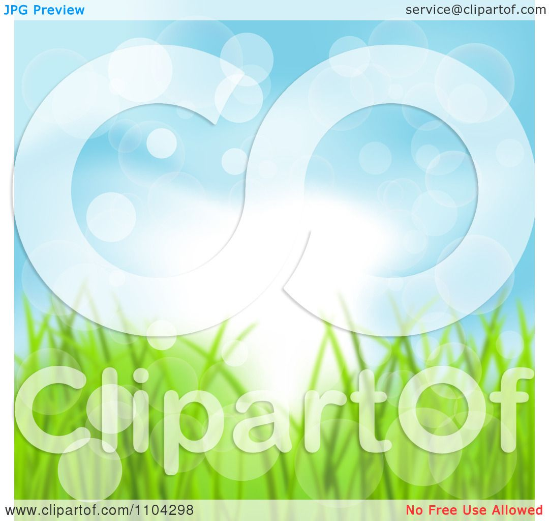 Clipart Blue Spring Sky And Grass Background With Flares Of Light.