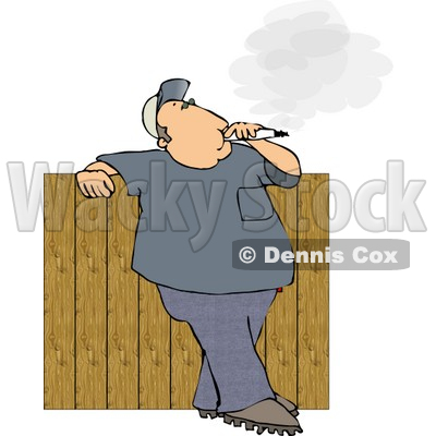 Man Smoking a Big Cigarette In His Backyard Against a Fence.