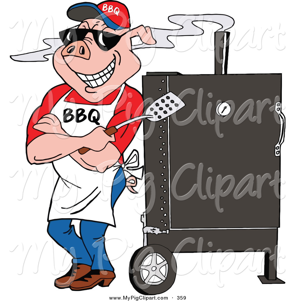 Swine Clipart of a Bbq Pig Standing Against a Smoker Outside by.