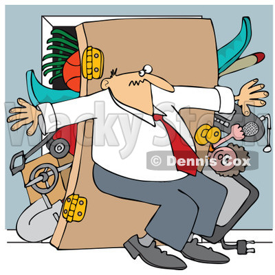 Clipart of a Caucasian Woman Pushing Her Back Against a Full.