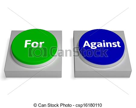 Clipart of For Or Against Keys Show Pros And Cons.