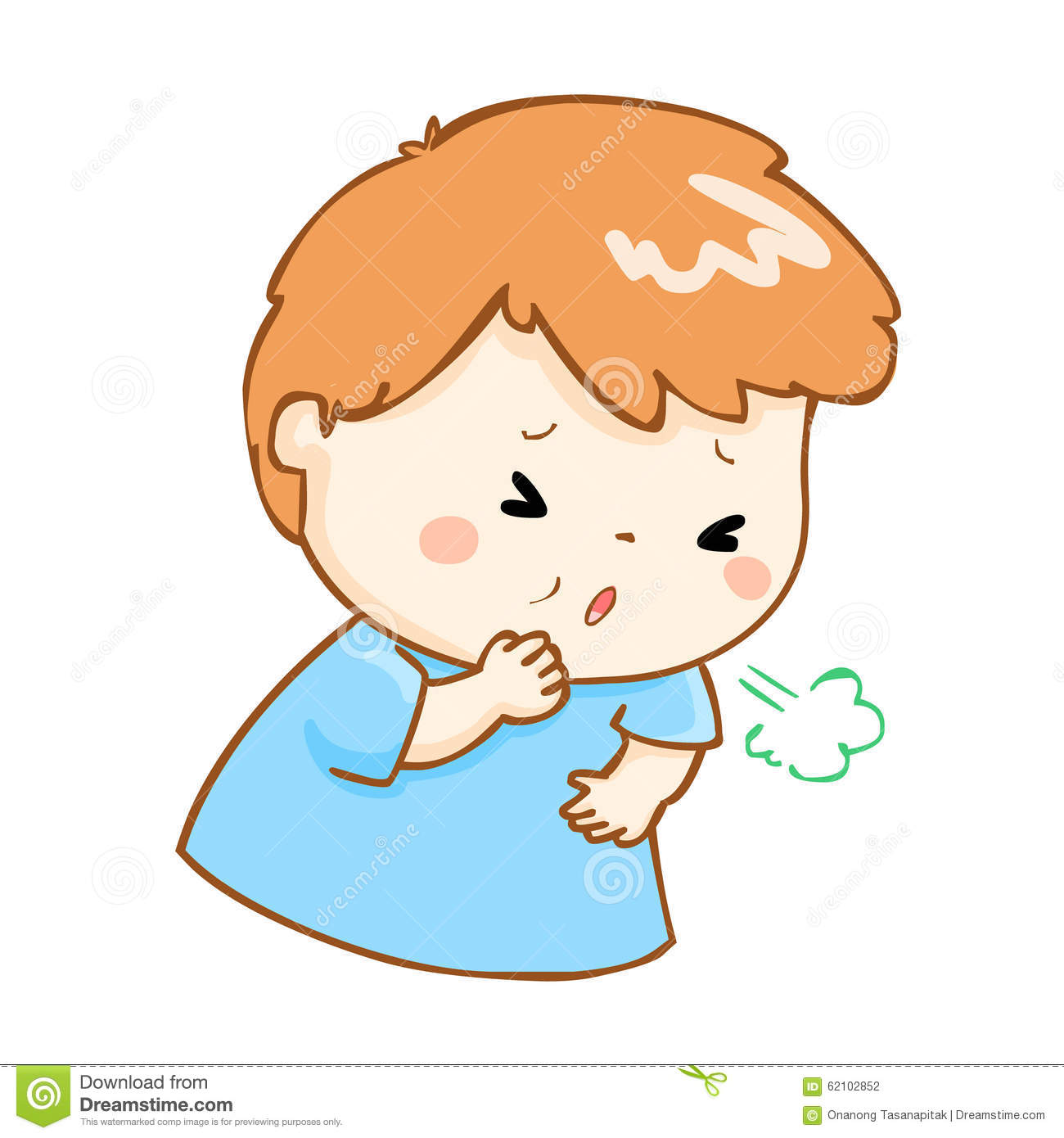 Coughing Boy Cartoon Illustration Stock Vector.