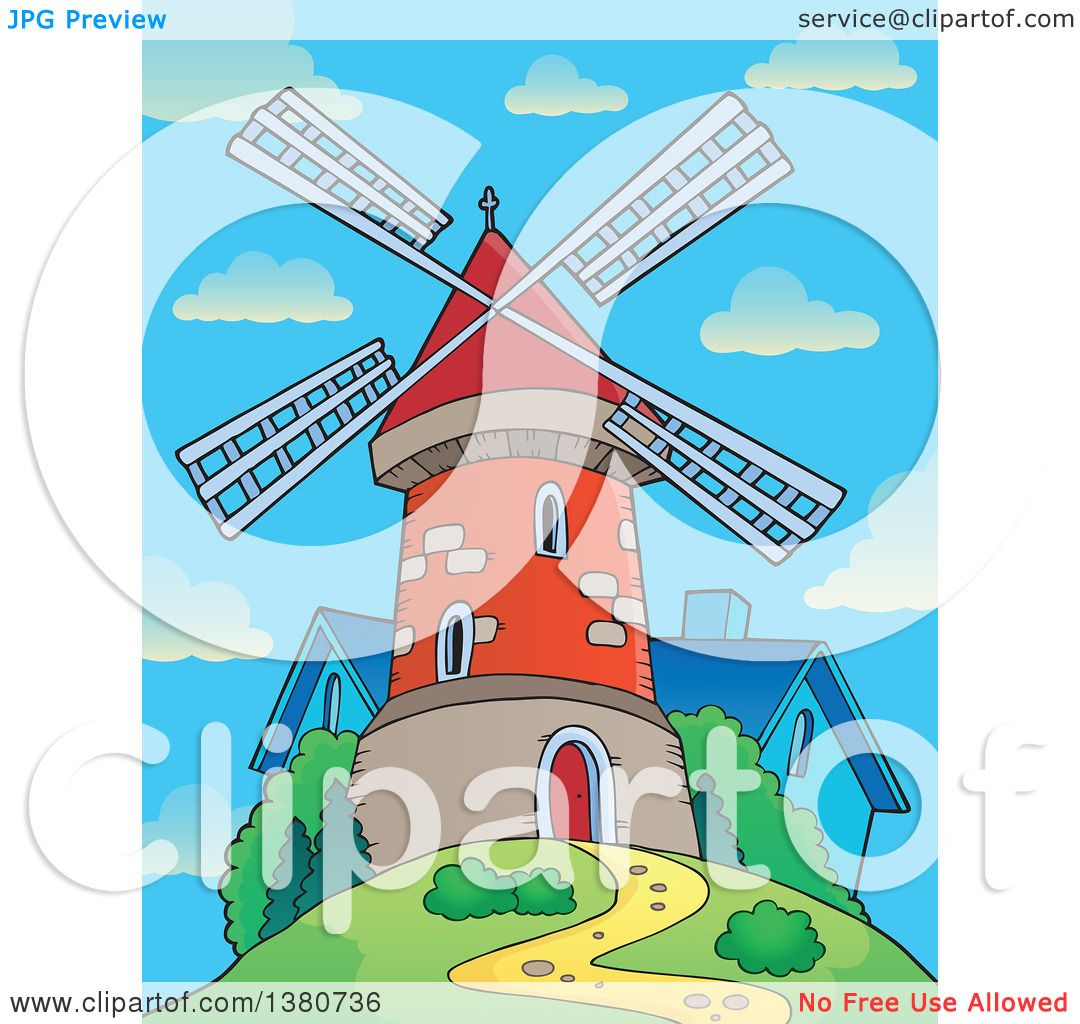 Clipart of a Brick Windmill and House on Top of a Hill Against a.