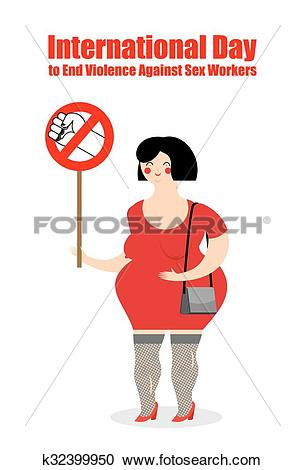 Clipart of Prostitute with poster stop violence. Poster for.