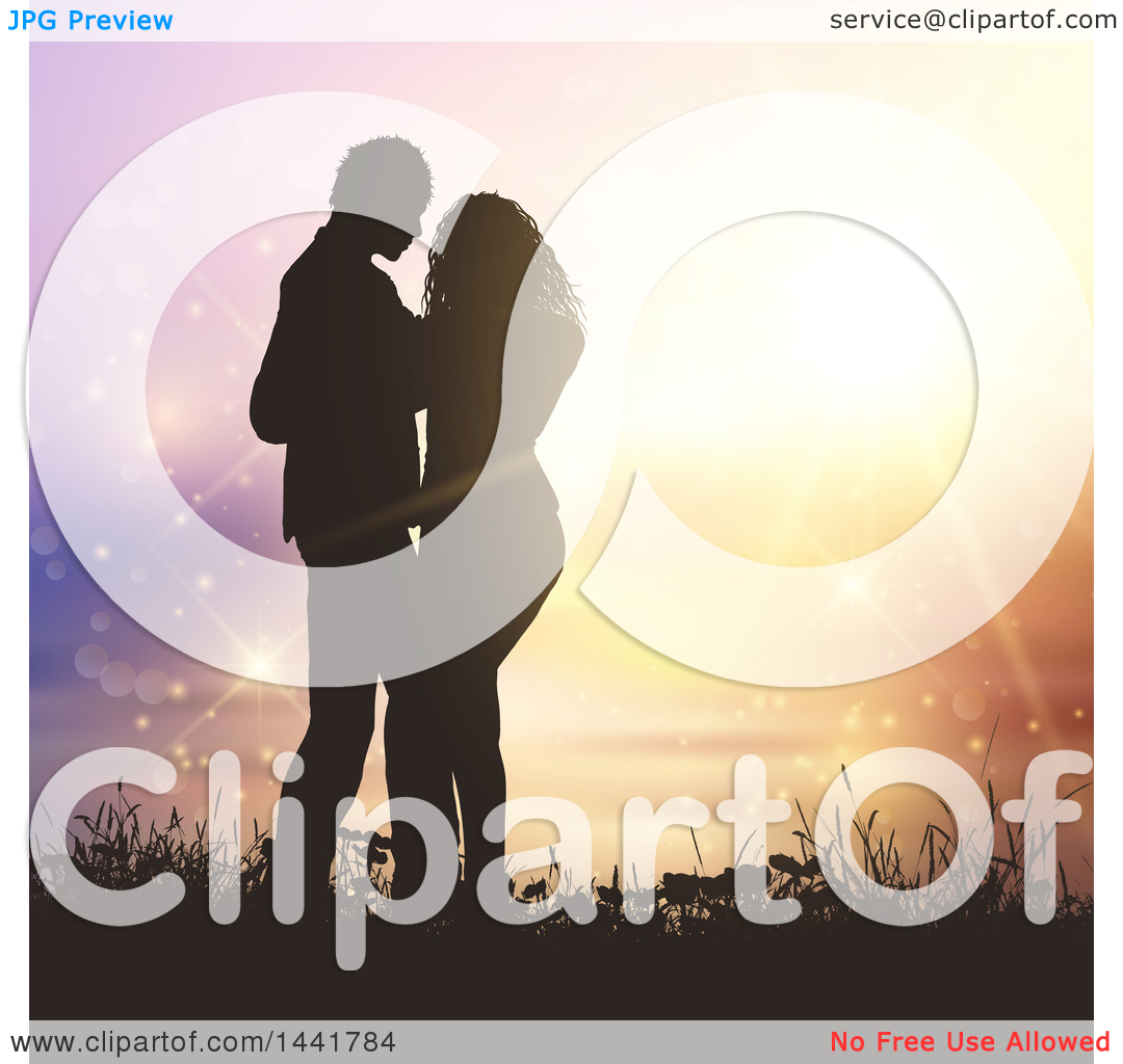 Clipart of a Silhouetted Valentines Day Couple Embracing, Against.