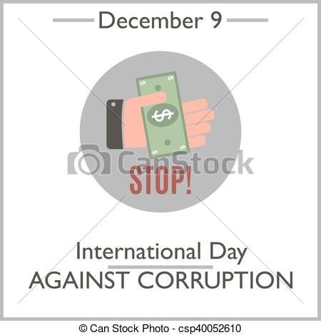 Vector Clip Art of International Day Against Corruption. December.