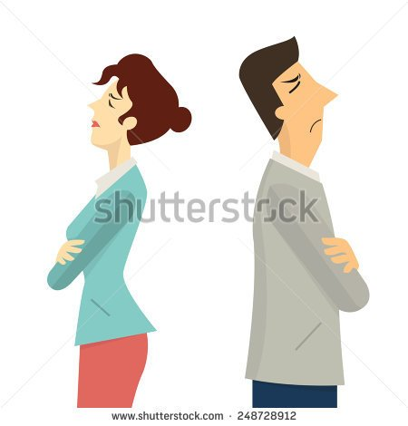 Two people with their backs against each other clipart.