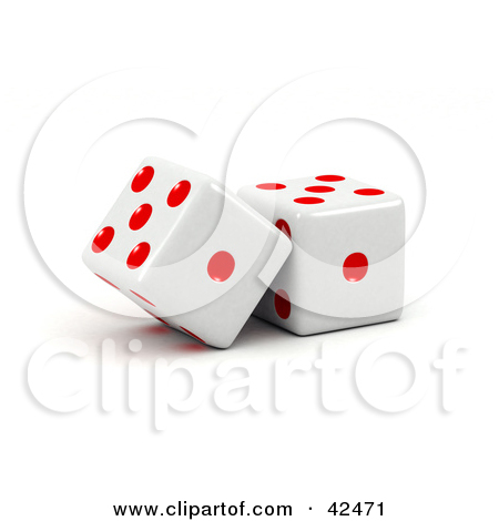 Clipart Illustration of Two Red And White Dice Resting Against.