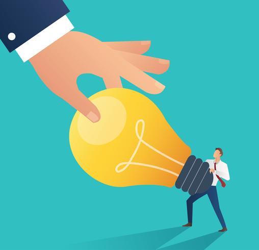 Business hand stealing idea light bulb. plagiarism concept.