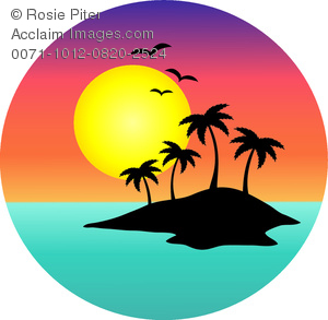 A Tropical Island Silhouetted Against the Setting Sun Clipart.