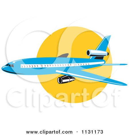 Clipart Of A Retro Blue Commercial Airliner Plane Against The Sun.