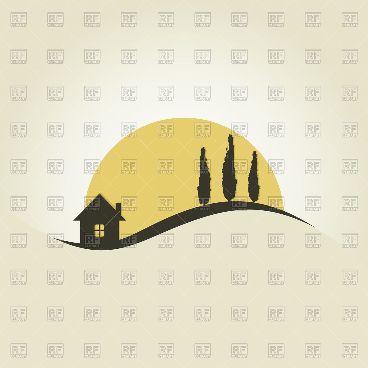 House and trees against sun icon Vector Image #82906.
