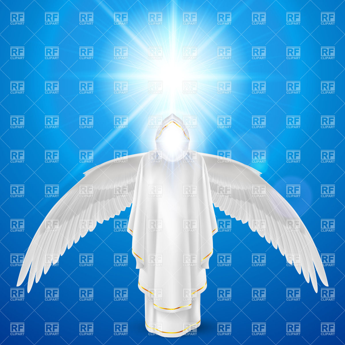 Guardian angel figure against sun flare Vector Image #35743.