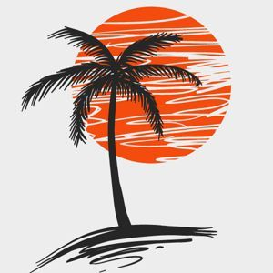 Palm Tree Silhouette Against Red Sun.