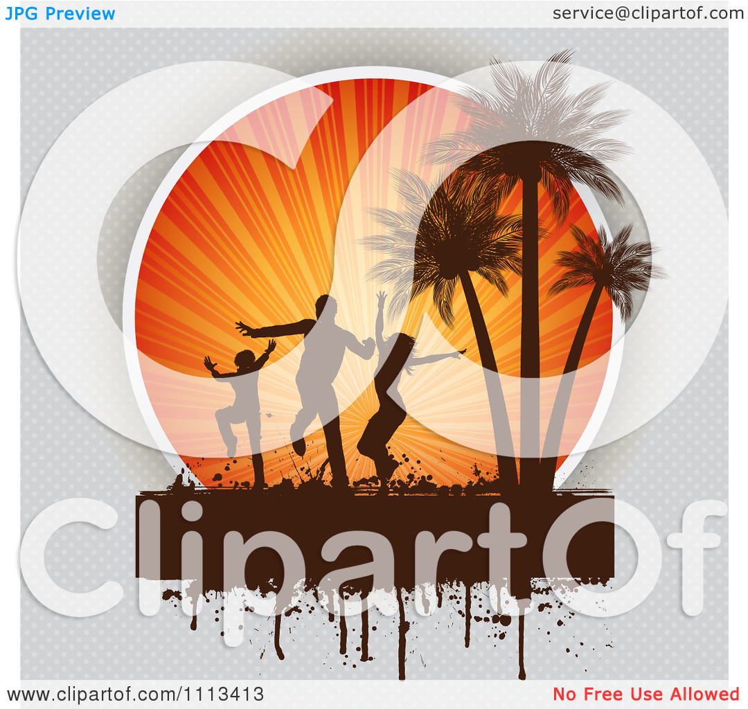 Clipart Silhouetted Beach Party Dancers Against Sun Rays And Palm.